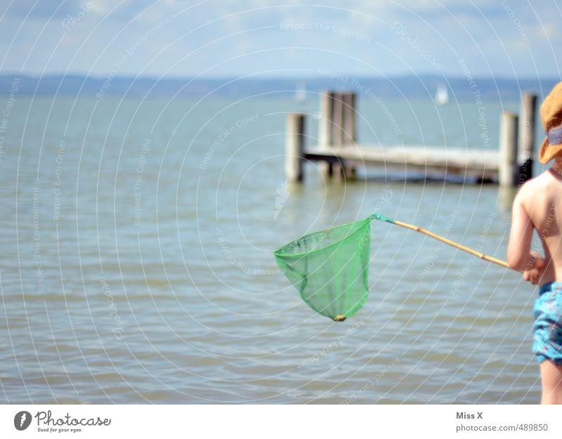 Wer hat das beste Netz? Der Diego! Mensch Kind Ferien & Urlaub & Reisen Sommer Meer Freude Strand Junge Spielen Küste See Stimmung Freizeit & Hobby Wellen Kindheit warten