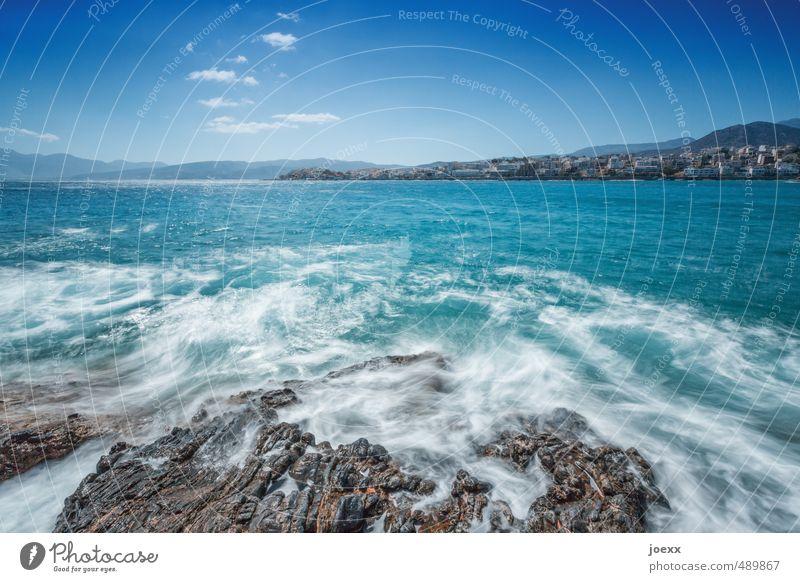 Weichspüler Himmel blau schön weiß Wasser Sommer Meer Wolken Umwelt Küste Felsen Horizont braun Wellen Idylle frei