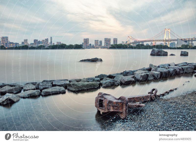 End of day - Rainbow Bridge Odaiba, Tokio Ferien & Urlaub & Reisen blau Wasser Meer Erholung ruhig Wolken Strand Ferne Zufriedenheit Hochhaus Tourismus Brücke Asien Gelassenheit Skyline