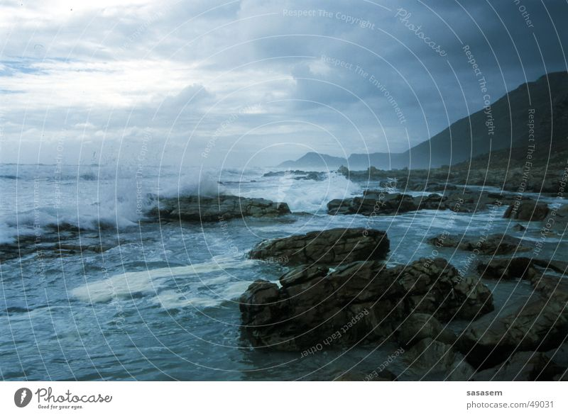 Meer, Kap der Guten Hoffnung Wasser Meer Strand Stein Wellen Wildtier unruhig Südafrika Afrika Cape Of Good Hope