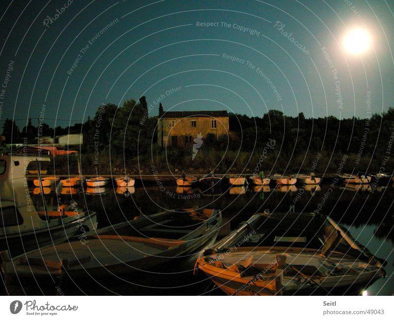 Kornaten-Nachtstimmung Kroatien Wasserfahrzeug Meer Fischer Dämmerung Landhaus Sonnenuntergang Licht Stimmung Mond Himmel Hafen Beleuchtung