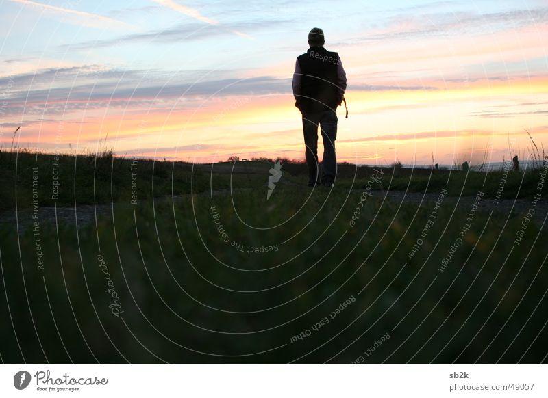 don't look behind Horizont Mann Sonnenuntergang rosa rot hell-blau Gras vorwärts Auslöser Wiese Wolken Abend Abenddämmerung Einsamkeit alone Himmel Landschaft