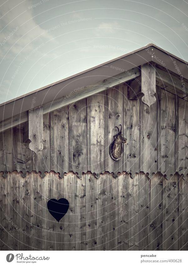 herz und schmerz Himmel Wolken Herbst Dekoration & Verzierung wandern Herz Zeichen Alpen Hütte Schmerz Jagd Holzwand Dachgiebel Holzhütte Totes Tier Trophäe