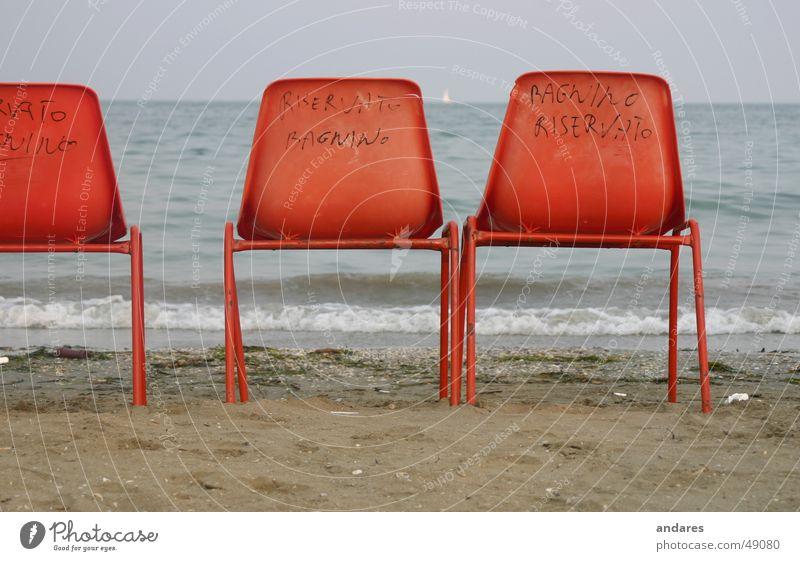 Erste Reihe Meer Strand Sand orange Horizont Romantik Sehnsucht Sitzgelegenheit Sessel
