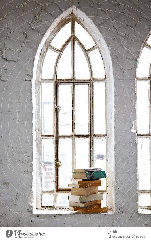 Fenster Erholung ruhig Umzug (Wohnungswechsel) Architektur Mauer Wand Stein lesen retro Gelassenheit Buch Bücherstapel Literatur Rückzugsort Wissen Ruine