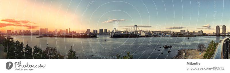 Tokyo bay blau Stadt grün Wärme Leben braun orange Hochhaus frei Warmherzigkeit Brücke Hafen Bucht Gelassenheit türkis Skyline