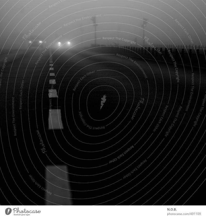 Achtung! Stadt schwarz Straße Gefühle Tod grau PKW Angst Nebel Verkehr trist stehen gefährlich bedrohlich beobachten Todesangst