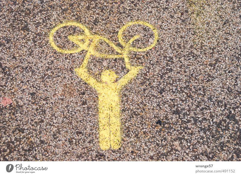 Radträger Mensch Stadt gelb Graffiti Straße Farbstoff Wege & Pfade Fahrrad Zeichen Symbole & Metaphern Fahrradfahren Rad Straßenbelag tragen auffordern