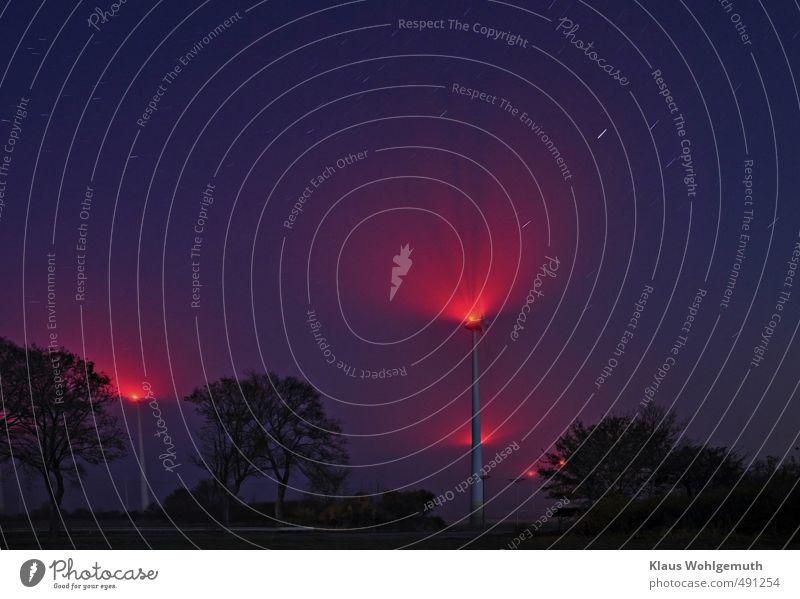 Elmsfeuer ? Himmel blau rot Landschaft Herbst Feld Nebel Energiewirtschaft Schönes Wetter Stern violett Windkraftanlage Nachthimmel Getriebe Korona