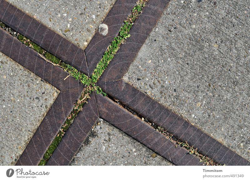 Unten. Industrie Gras Beton Metall sportlich grau grün Kreuz Bodenbelag Bodenplatten unten Fleck fest Linie Farbfoto Gedeckte Farben Außenaufnahme Menschenleer
