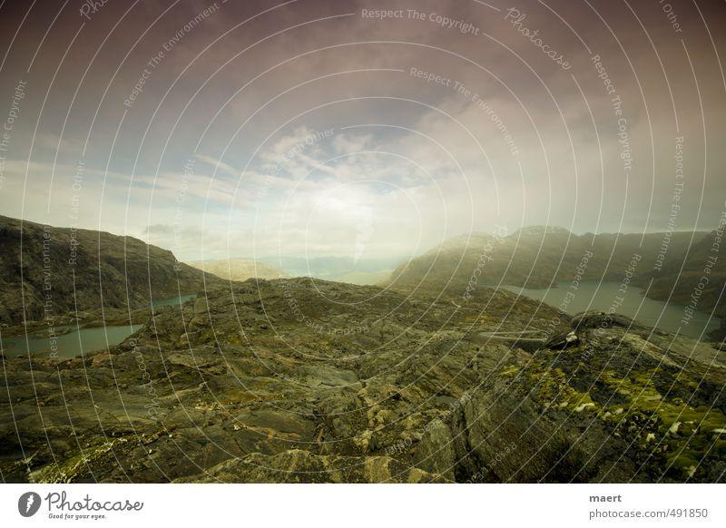 Horizont erweitern Himmel grün rot Landschaft Wolken Felsen Luft Unendlichkeit