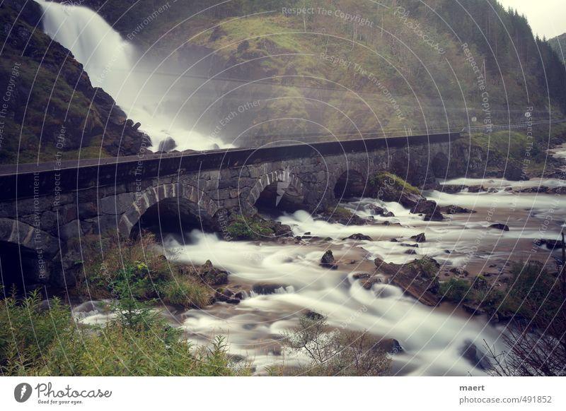 Wasserfall grün Landschaft kalt Bewegung Herbst grau ästhetisch Fluss