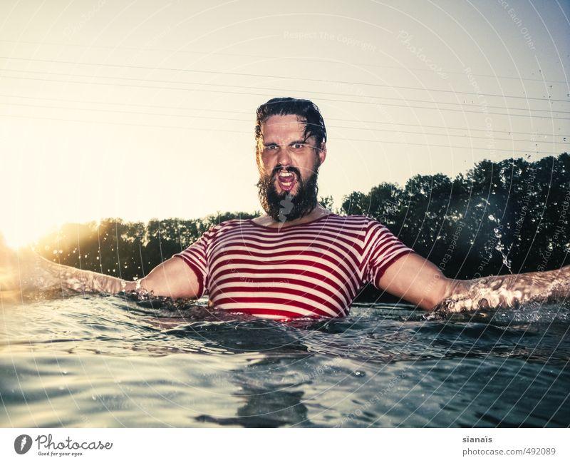 THIS IS AARE! Mensch Natur Ferien & Urlaub & Reisen Mann schön Wasser Sommer Umwelt Erwachsene Schwimmen & Baden maskulin Kraft Wut Bart Mut Schweiz
