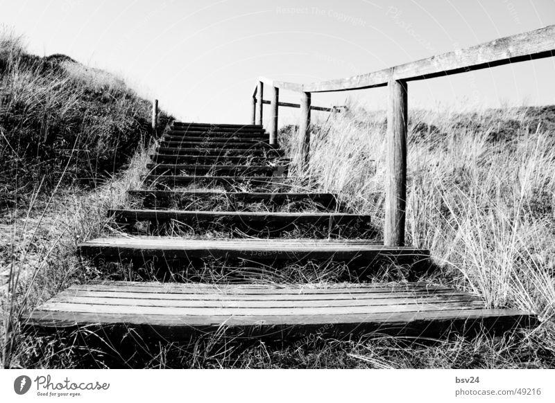 stairs weiß Meer schwarz Holz Landschaft Treppe Steg Stranddüne Sylt