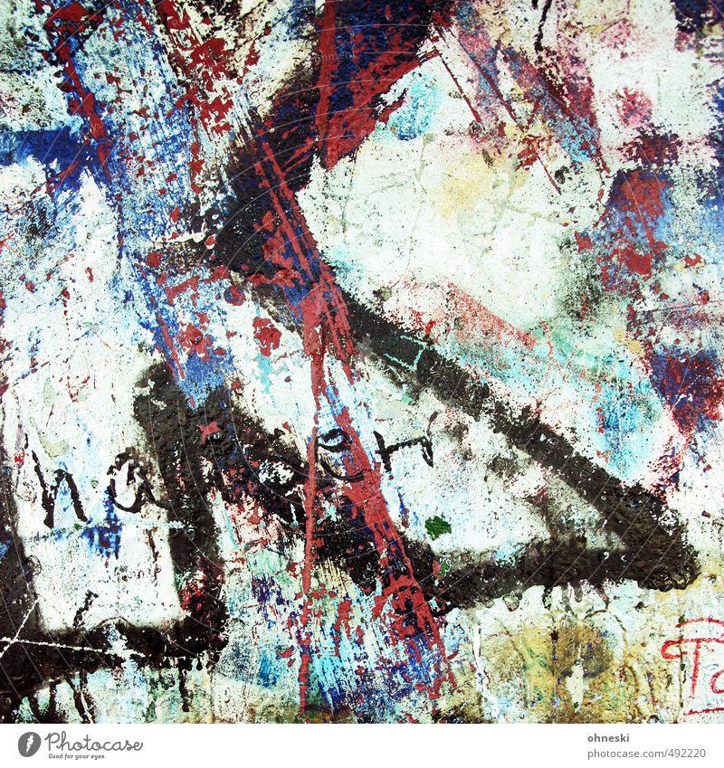 Abstrakt Kunst Mauer Wand Fassade Schriftzeichen Graffiti mehrfarbig Hemmungslosigkeit chaotisch Farbfoto Außenaufnahme abstrakt Muster Kontrast