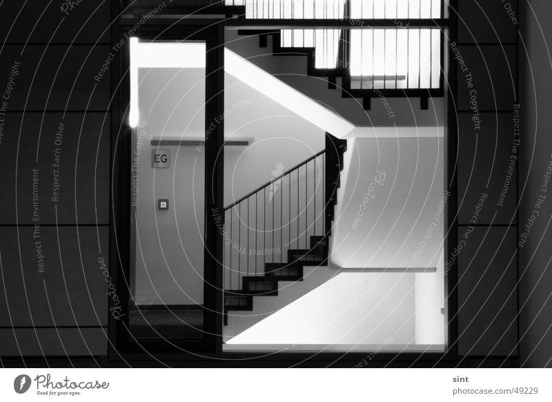 eg Licht Nacht Mitternacht Fenster Tanzfläche Flur Eingang Treppenhaus erdgeschoss Tür stairs light architecture sint Nachtaufnahme night staircase steps bw