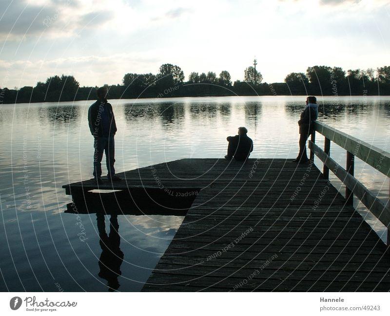 Steg vom See Wasser Baum Sonne Landschaft Hintergrundbild groß 3 mehrere Spiegelbild Ziffern & Zahlen Bremervörde