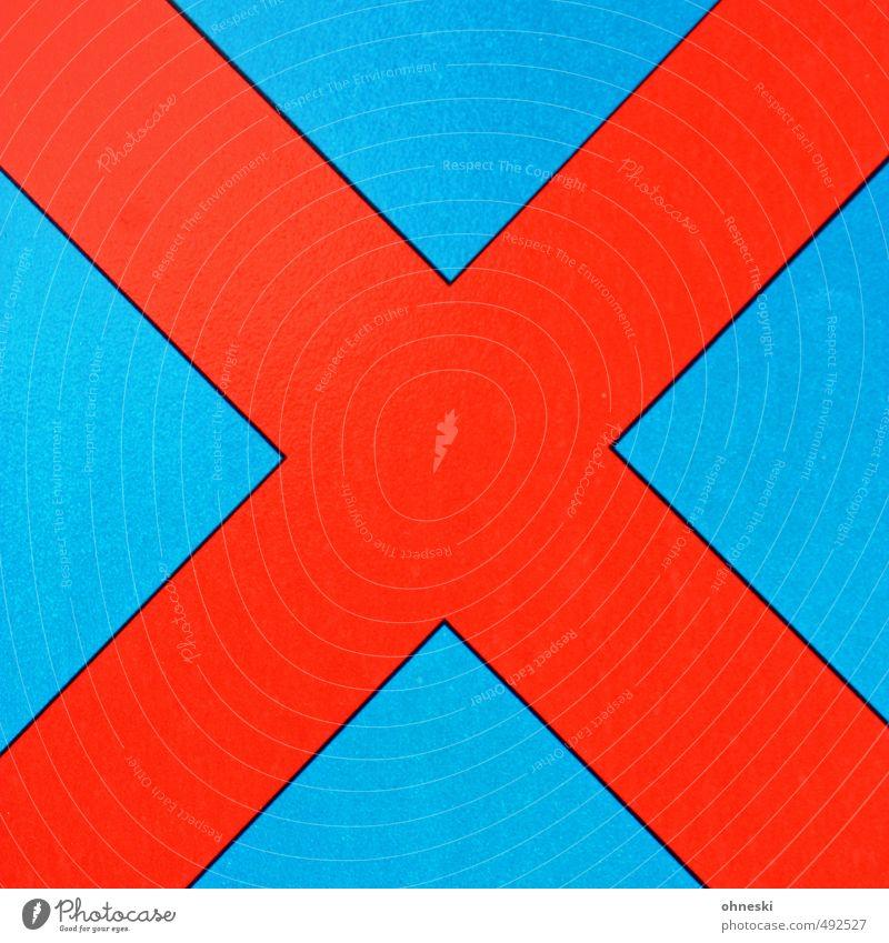 Straight Edge Jugendkultur Zeichen Schriftzeichen Schilder & Markierungen Verkehrszeichen Kreuz rebellisch blau rot Verbote Halteverbot mehrfarbig Außenaufnahme