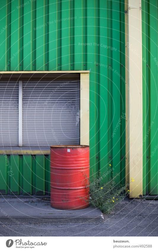 grünrotgelb. Blume Fenster Wand Mauer Gebäude Linie Metall Fassade Energiewirtschaft Industrie Baustelle Landwirtschaft Kunststoff