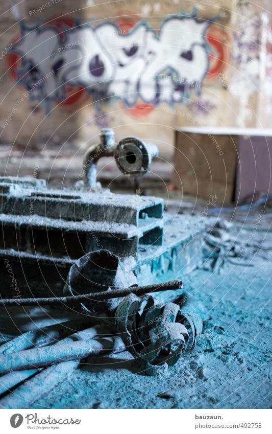 graffiti. Maschine Technik & Technologie Industrie Ruine Mauer Wand Stein Beton Metall Stahl Rost Zeichen Graffiti dreckig kalt trashig blau grau rot chaotisch