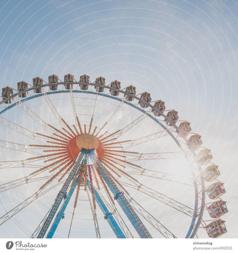 O Feste & Feiern Oktoberfest Jahrmarkt Veranstaltung Gefühle Freude Tourismus Riesenrad hoch Fahrgeschäfte mehrfarbig Aussicht Überblick überblicken Attraktion