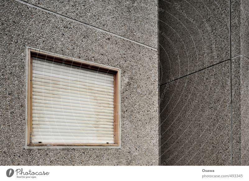 Waschbeton Haus Fenster Architektur Wand Gebäude Mauer Stein Fassade grau trist geschlossen Beton Wohnhaus Wohnhochhaus Langeweile Stadtrand