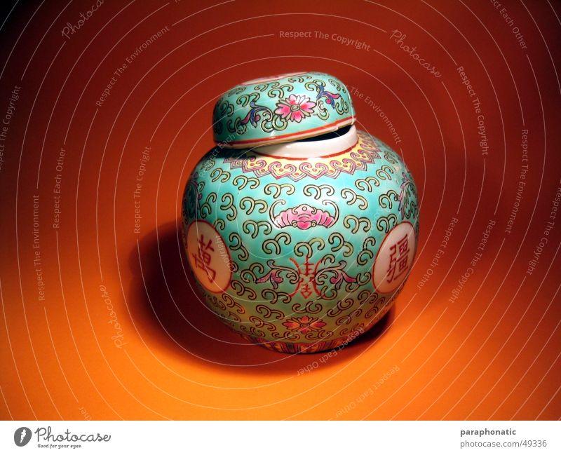 Chinavase orange Gully Vase Behälter u. Gefäße Chinesisch Urne Fototisch
