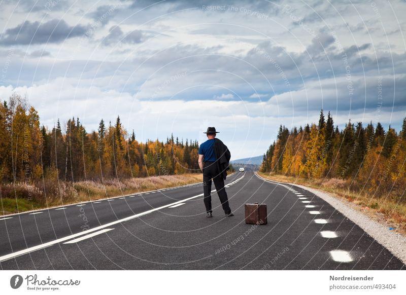 Unterwegs Mensch Mann Ferien & Urlaub & Reisen Ferne Wald Erwachsene Straße Leben Herbst Freiheit Linie Business Erfolg warten 45-60 Jahre Beginn