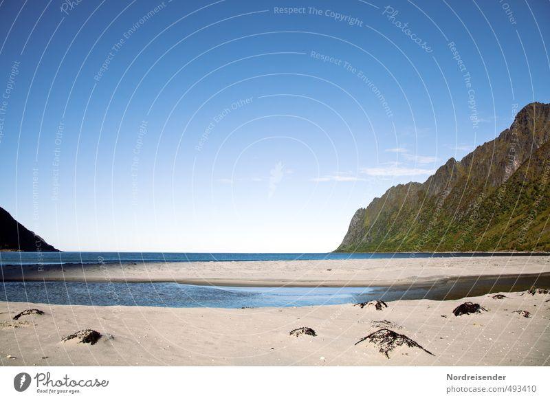 Senja Natur Ferien & Urlaub & Reisen Sommer Meer Einsamkeit Erholung Landschaft ruhig Ferne Strand Berge u. Gebirge Freiheit Felsen Horizont Insel Urelemente