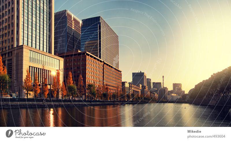 Chiyoda Tokyo Wasser rot ruhig gelb Wärme Freiheit braun orange Kraft gold Hochhaus groß Fluss Romantik Asien türkis