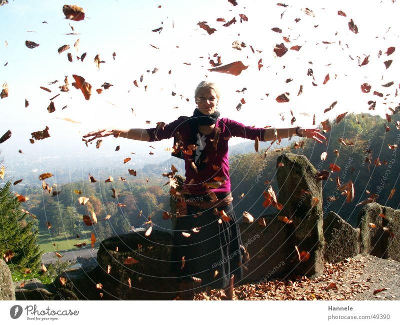Herbstfee Frau Blatt Luft Natur Sonne Freude fliegen Himmel