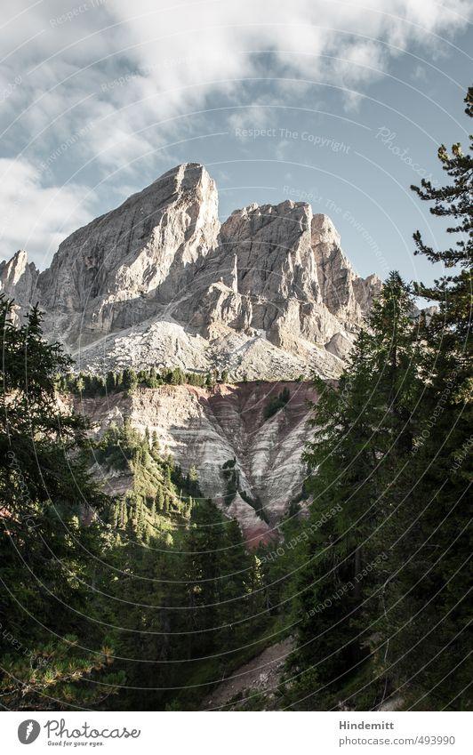 Peitlerkofel [portrait] Umwelt Landschaft Himmel Wolken Sommer Klima Schönes Wetter Baum Wald Hügel Felsen Alpen Berge u. Gebirge Gipfel Schlucht Dolomiten