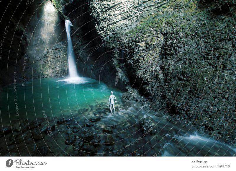 mein schatz! Mensch maskulin Mann Erwachsene Leben Körper 1 30-45 Jahre Umwelt Natur Landschaft Wasser Felsen Bach Wasserfall blau grün Slowenien klein schön