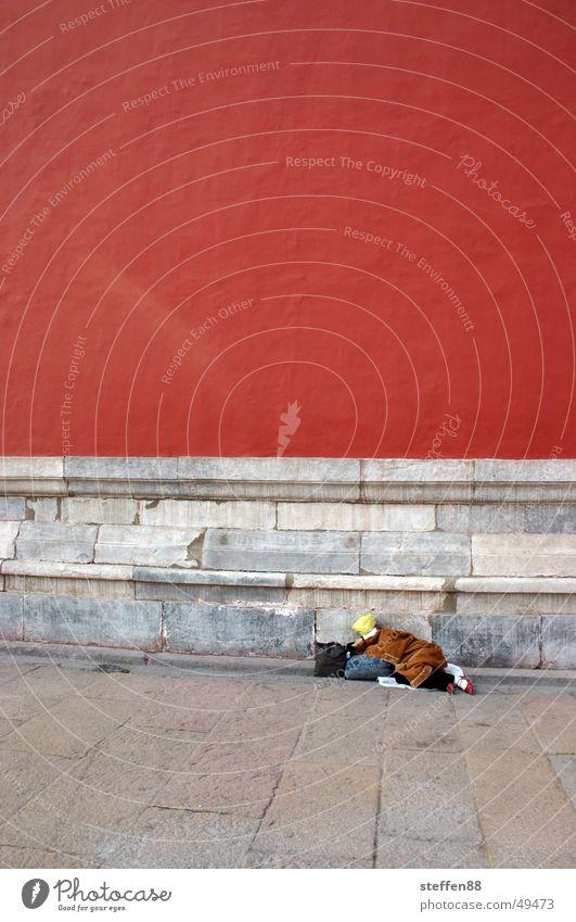 einfach schlafen rot Mauer schlafen China Müdigkeit