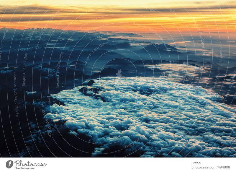 Wie ich fühle Himmel blau weiß Wolken ruhig schwarz gelb fliegen Horizont orange träumen Zufriedenheit Luft Luftverkehr hoch Schönes Wetter