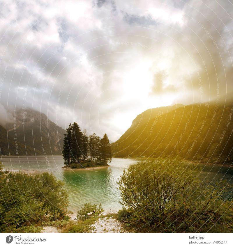 lago del predil Himmel Natur Wasser Pflanze Baum Landschaft Wolken Tier Umwelt Berge u. Gebirge Küste See Felsen authentisch Sträucher Insel