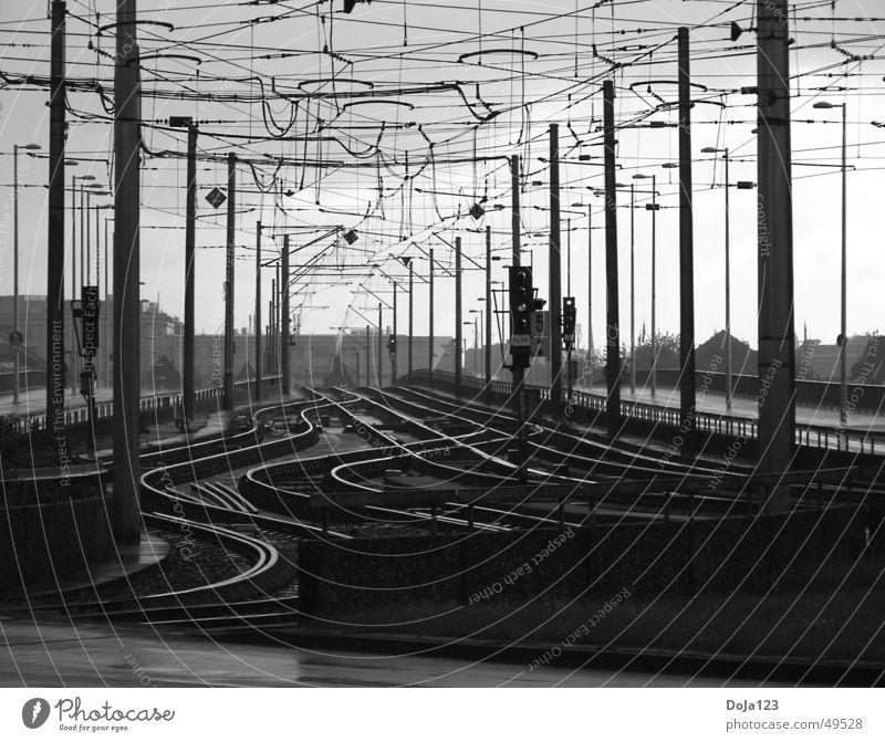 Schienensystem Linie Verkehr Eisenbahn Ordnung Gleise Köln Straßenbahn unruhig Verkehrsmittel Kölner Verkehrs-Betriebe Deutzer Brücke