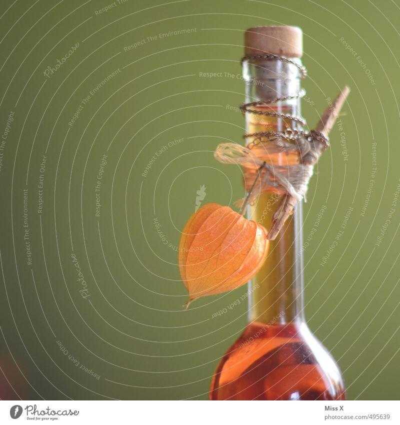 Schnaps Lebensmittel Frucht Ernährung Getränk Alkohol Spirituosen Bar Cocktailbar trinken orange Physalis Lampionblume Flasche selbstgemacht verziert Korken