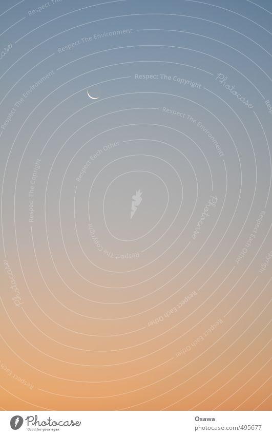 Mond Himmel blau Himmel (Jenseits) rot ruhig Ferne orange Textfreiraum leer Mond Verlauf Himmelskörper & Weltall Sichelmond