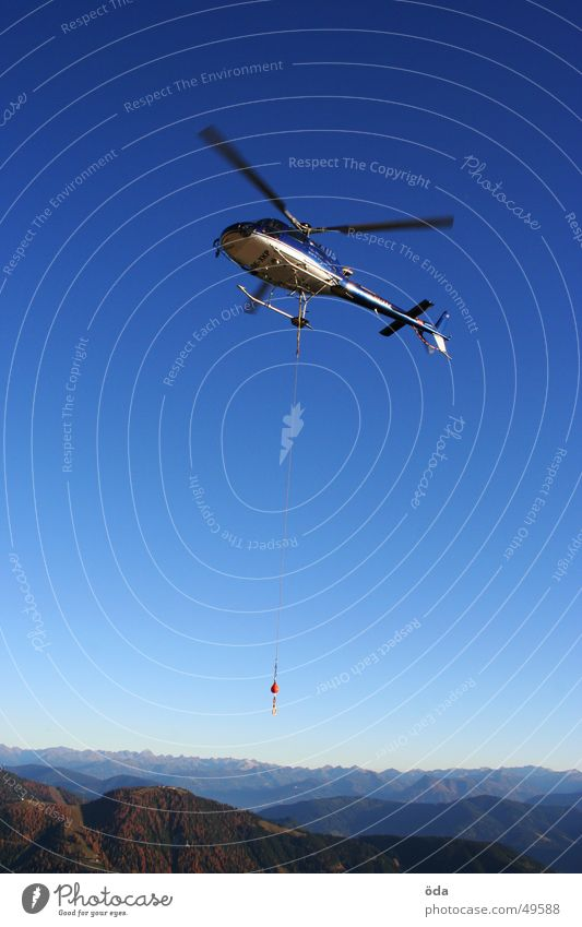 heli alpin Himmel Berge u. Gebirge fliegen Seil Horizont Luftverkehr Güterverkehr & Logistik Gewicht Hubschrauber Rotor