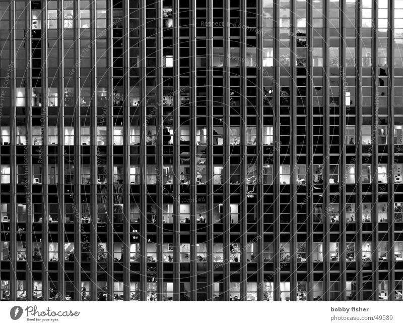 käfighaltung Arbeit & Erwerbstätigkeit Fassade schwarz weiß Mensch Beruf Aktenordner Glas Architektur