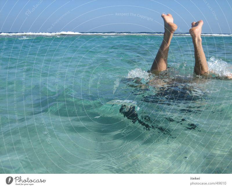 Einfach Mal Abtauchen Wasser Meer Fuß Wellen tauchen Schwimmen & Baden türkis Taucher Karibisches Meer Schnorcheln Tauchgerät