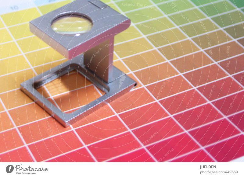 Fadenzähler grün rot Farbe gelb Stil Linie orange ästhetisch Perspektive Streifen eckig Raster Linse Genauigkeit Qualität Lupe
