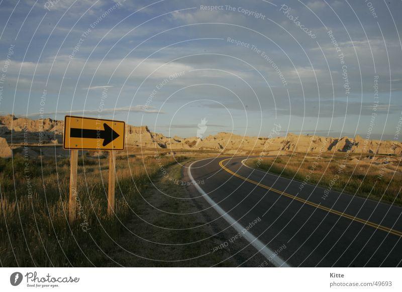 Badlands Straße Schilder & Markierungen USA Autobahn Amerika South Dakota