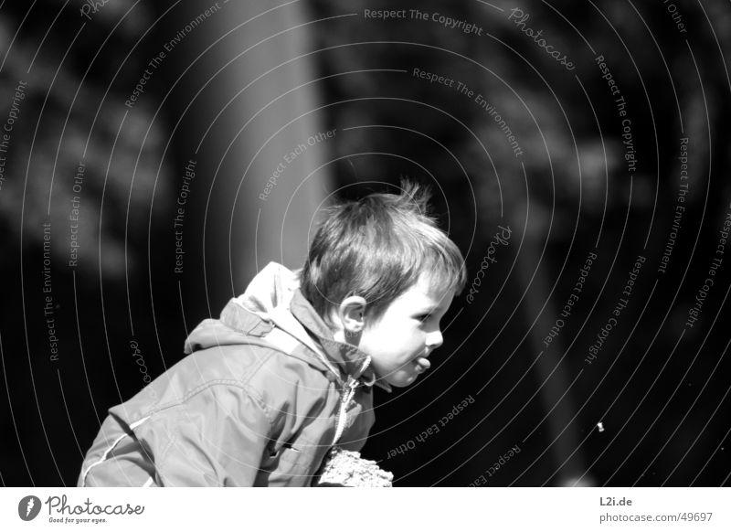 Kleiner Junge Kind klein blond Jacke schwarz weiß hocken Spielen Sonne Mensch Gesicht Zunge Haare & Frisuren Ohr Nase Auge werfen frech Freude Natur