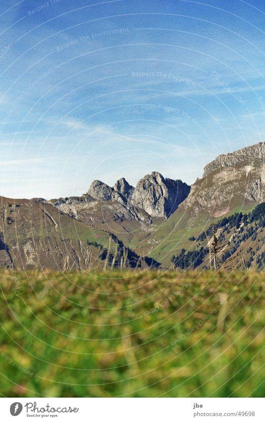 aussicht Gras grün grau Horizont Aussicht Berge u. Gebirge Felsen Stein Himmel Erde blau