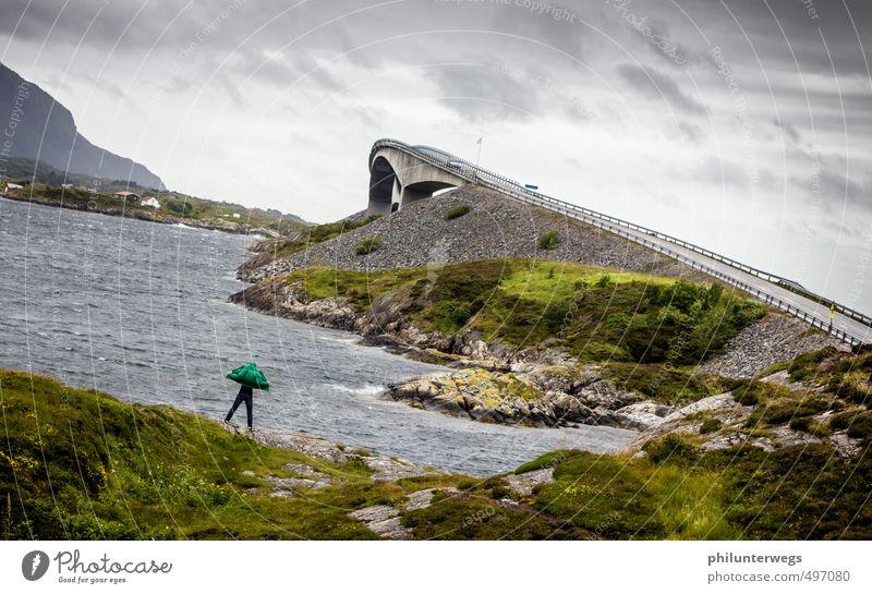 Der Fledermausmann Mensch Wasser Meer Landschaft Ferne Umwelt Küste fliegen Wetter Wellen Wind Klima Tourismus Insel Ausflug bedrohlich