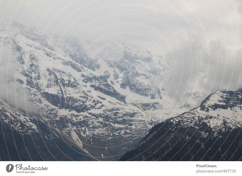 Berggipfel Natur Ferien & Urlaub & Reisen weiß Einsamkeit Wolken Ferne Berge u. Gebirge Schnee grau Stein Stimmung Nebel Wind frei Tourismus Abenteuer