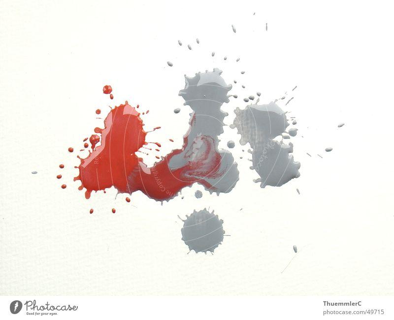 Farbkleckse auf Karton weiß rot Farbe grau Kunst planen Design Papier Aktion streichen zeichnen Grafik u. Illustration Fleck Mischung spritzen Trennung