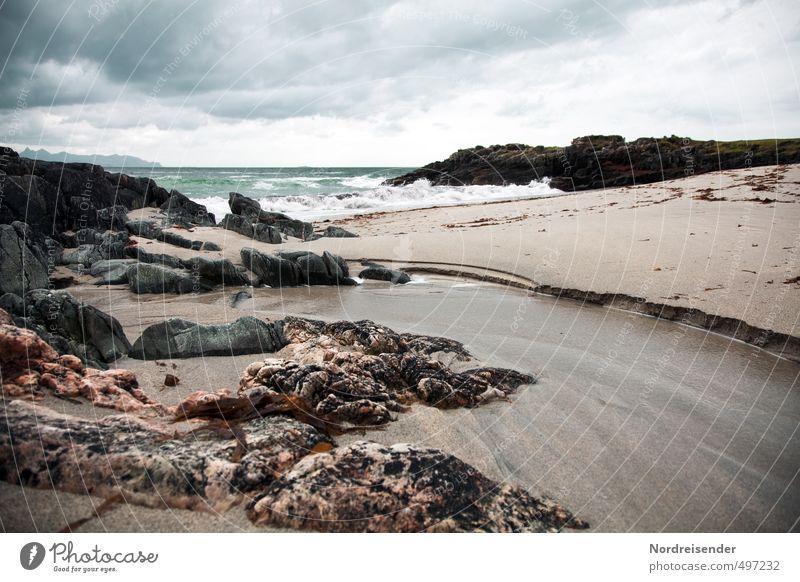 Vesterålen Ferne Freiheit Meer Wellen Natur Landschaft Urelemente Sand Wasser Klima Wetter schlechtes Wetter Wind Sturm Felsen Küste Riff bizarr Einsamkeit